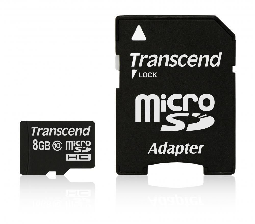 TRANSCEND MICRO-SDHC 8GB CLASS10 W/ADAP.