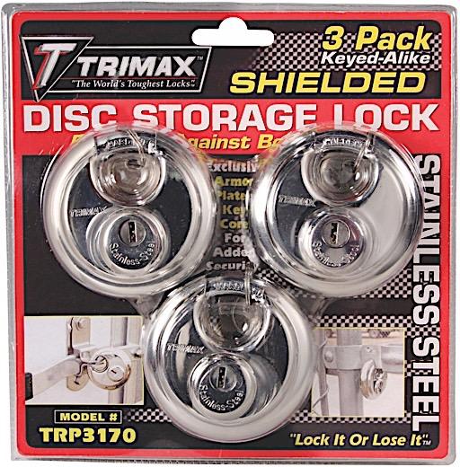 STAINLESS STEEL 70MM ROUND PAD LOCK - 10MM SHACKLE 3- PACK KEYED ALIKE