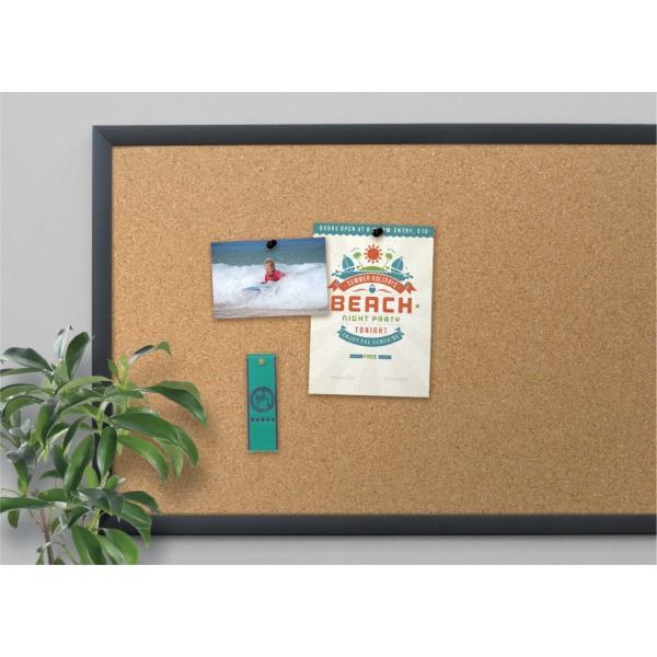 Cork Bulletin Board, 24 x 18, Natural Surface, Black Frame