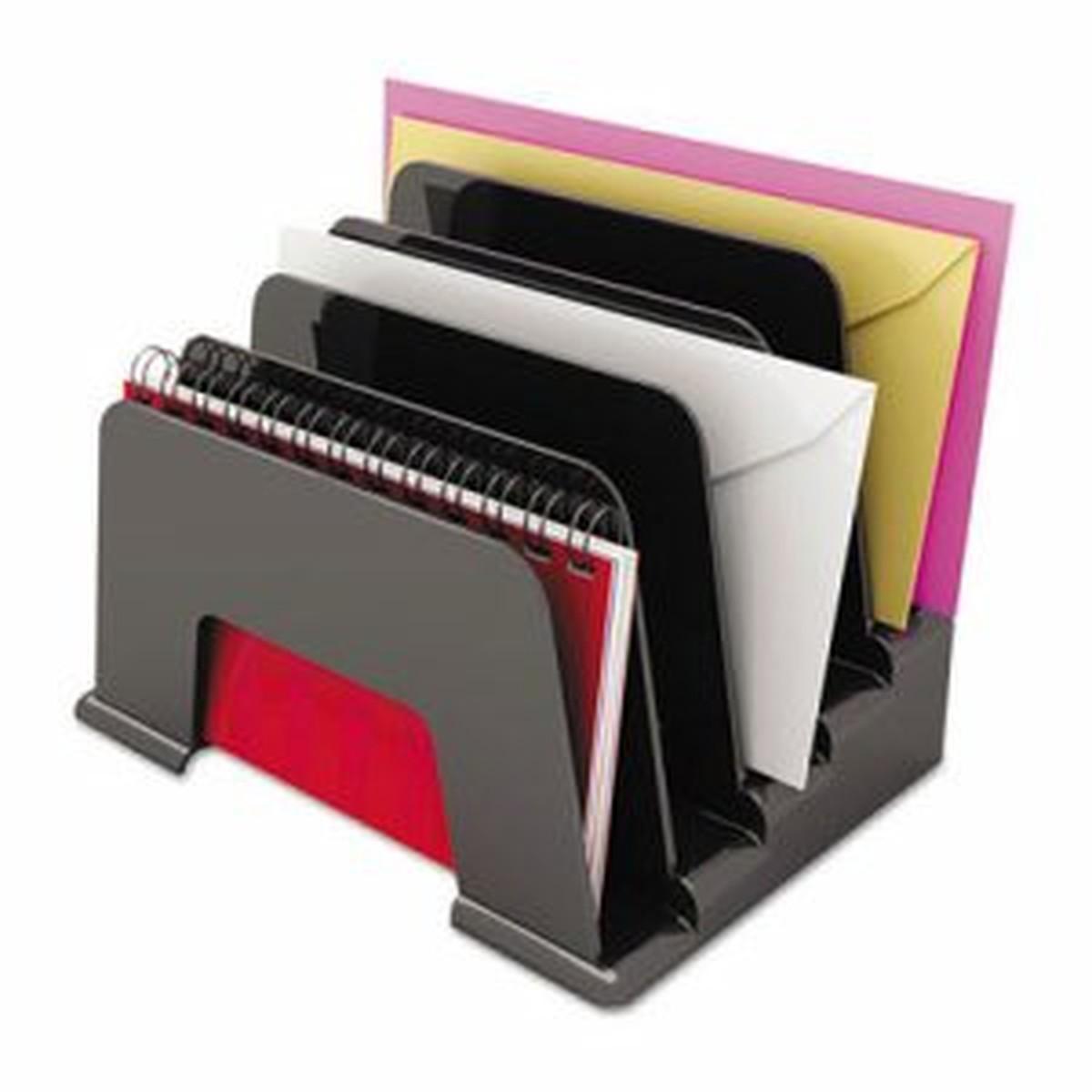 Incline Sorter, Five Sections, Plastic, 8 x 5 1/2 x 6, Black