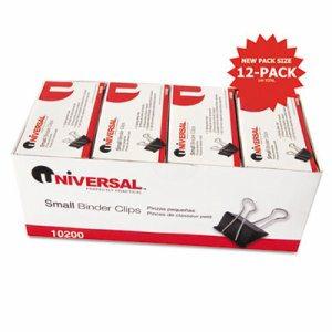 "Small Binder Clips, Zip-Seal Bag, 3/8"" Capacity, 3/4"" Wide, Black, 144/Bag"
