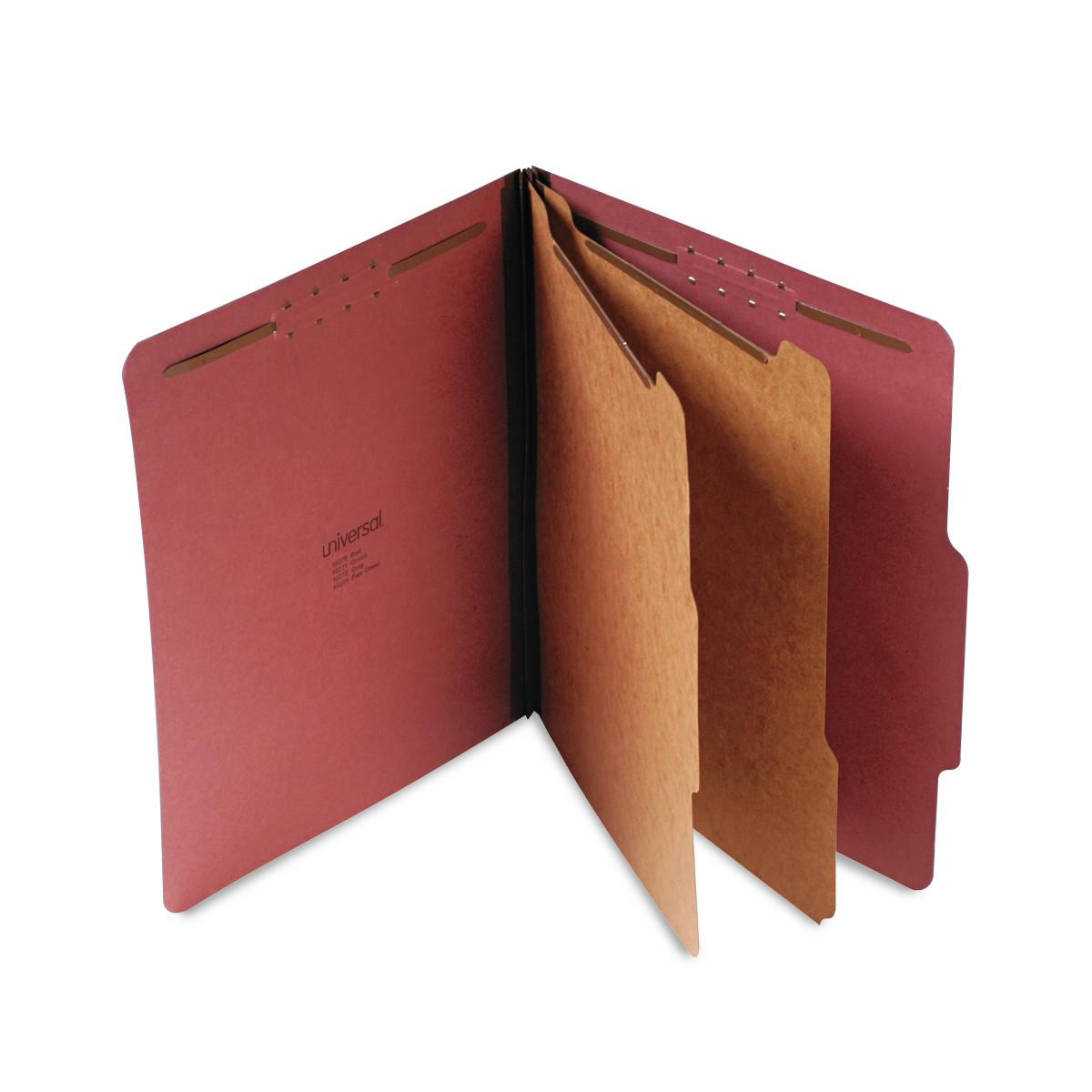 Pressboard Classification Folder, Letter, Six-Section, Red, 10/Box
