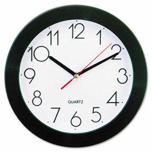 "Round Wall Clock, 9 3/4"", Black"