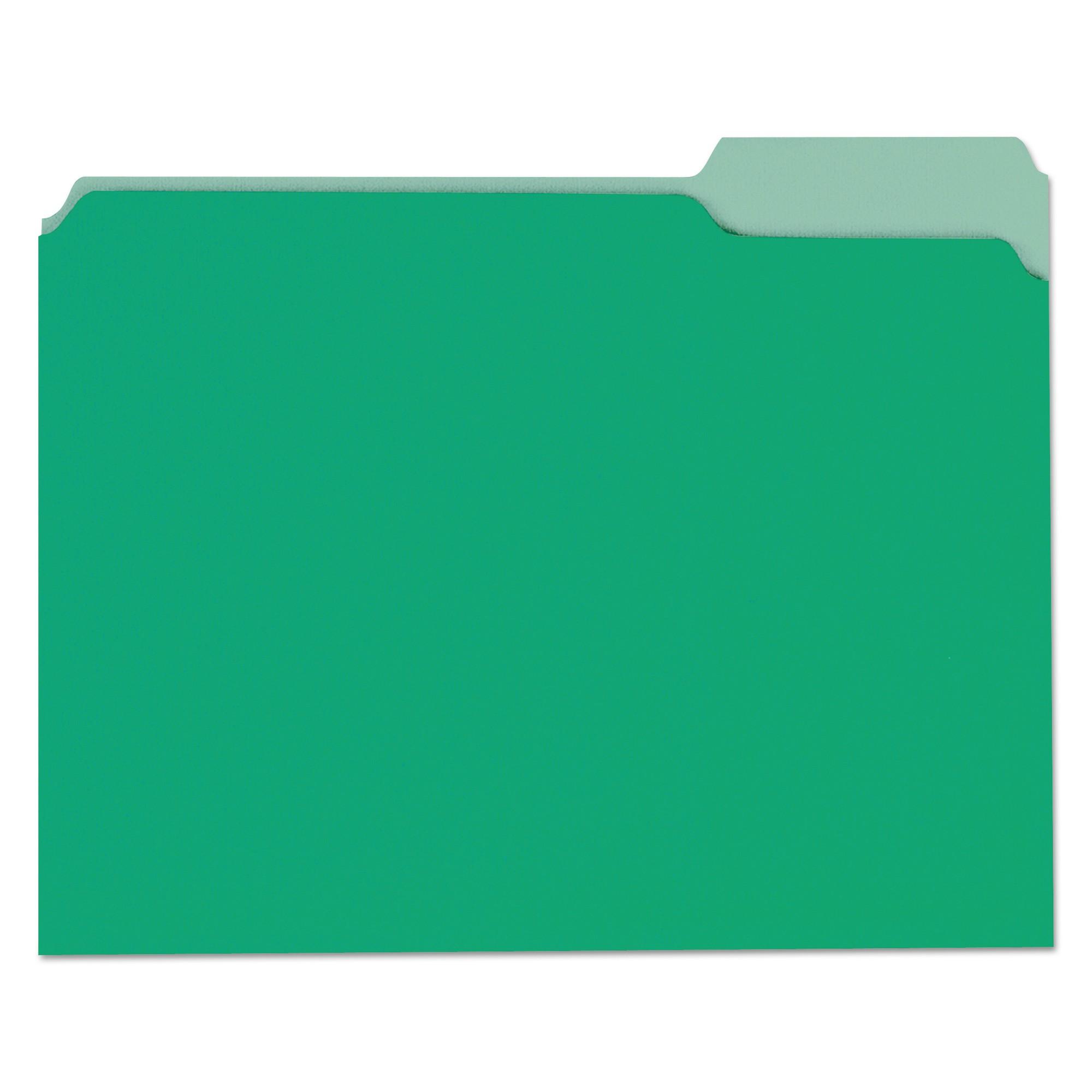 File Folders, 1/3 Cut One-Ply Tab, Letter, Green/Light Green, 100/Box