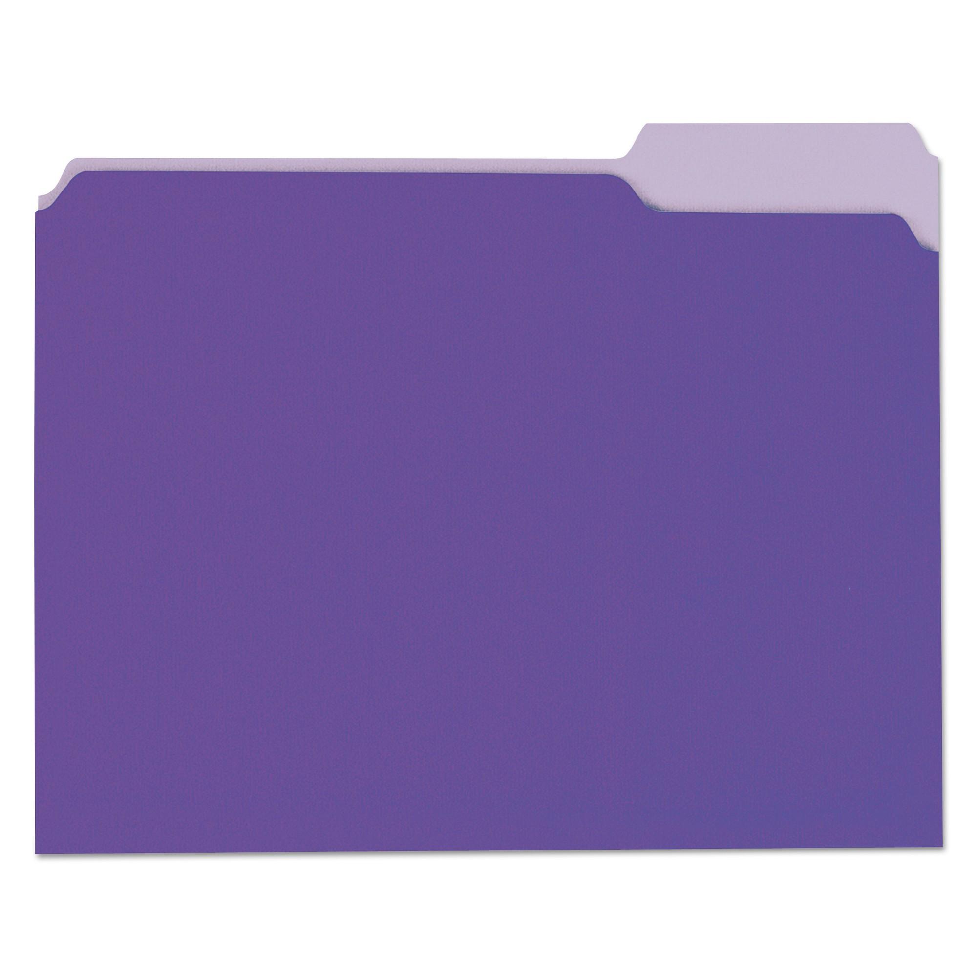 File Folders, 1/3 Cut One-Ply Top Tab, Letter, Violet/Light Violet, 100/Box