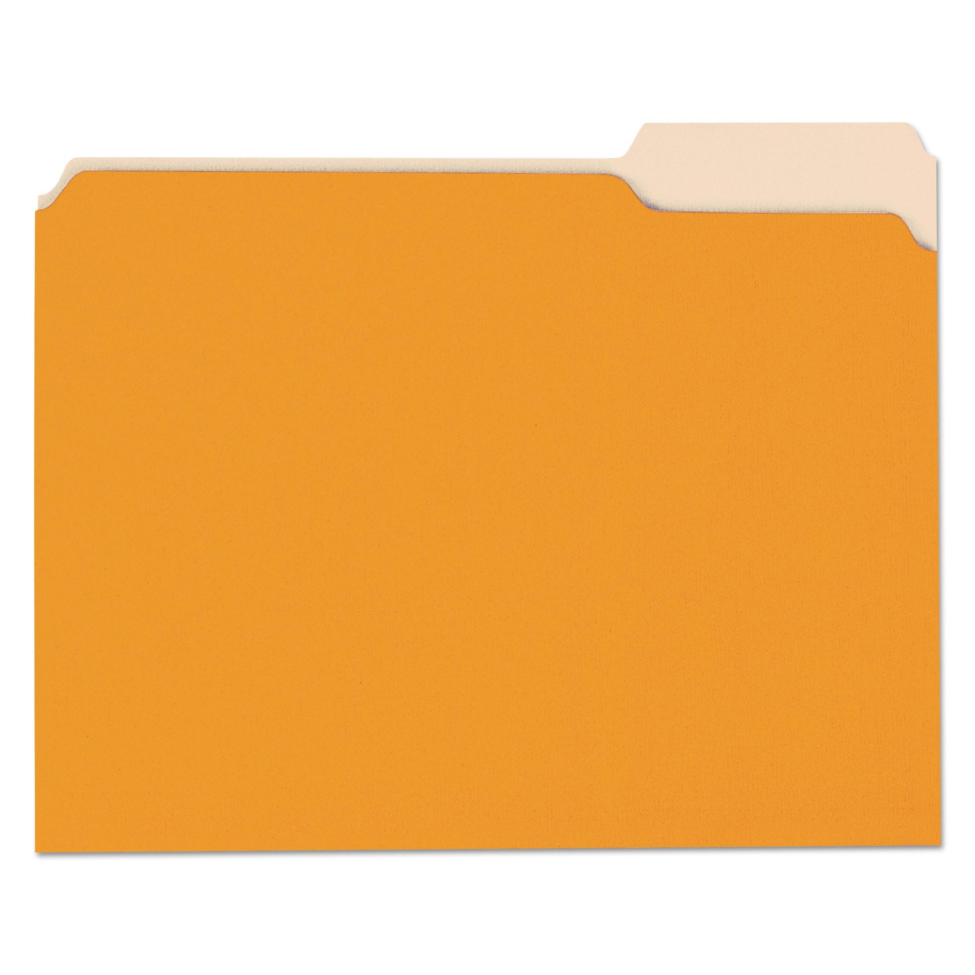 File Folders, 1/3 Cut One-Ply Top Tab, Letter, Orange/Light Orange, 100/Box