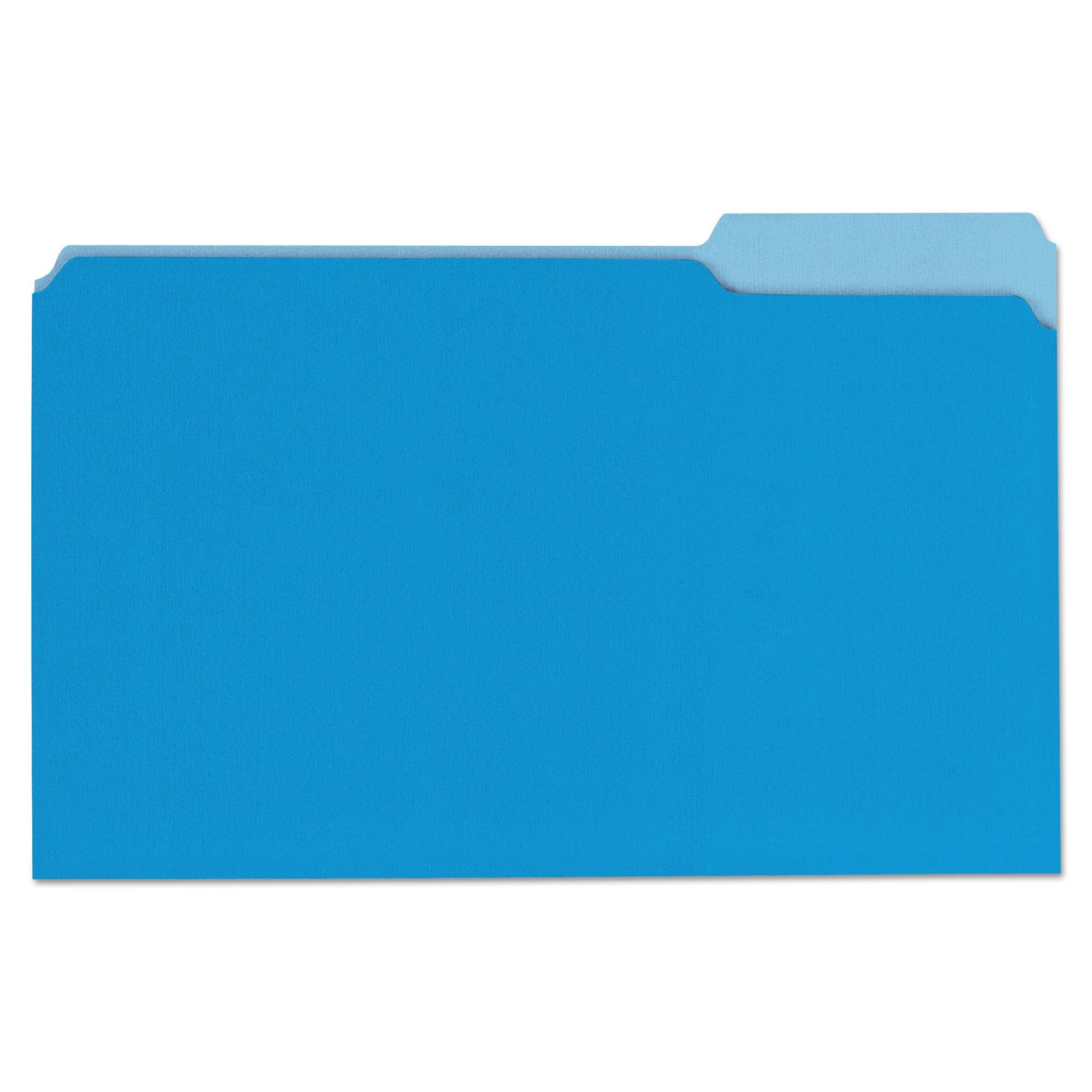 File Folders, 1/3 Cut One-Ply Top Tab, Legal, Blue/Light Blue, 100/Box