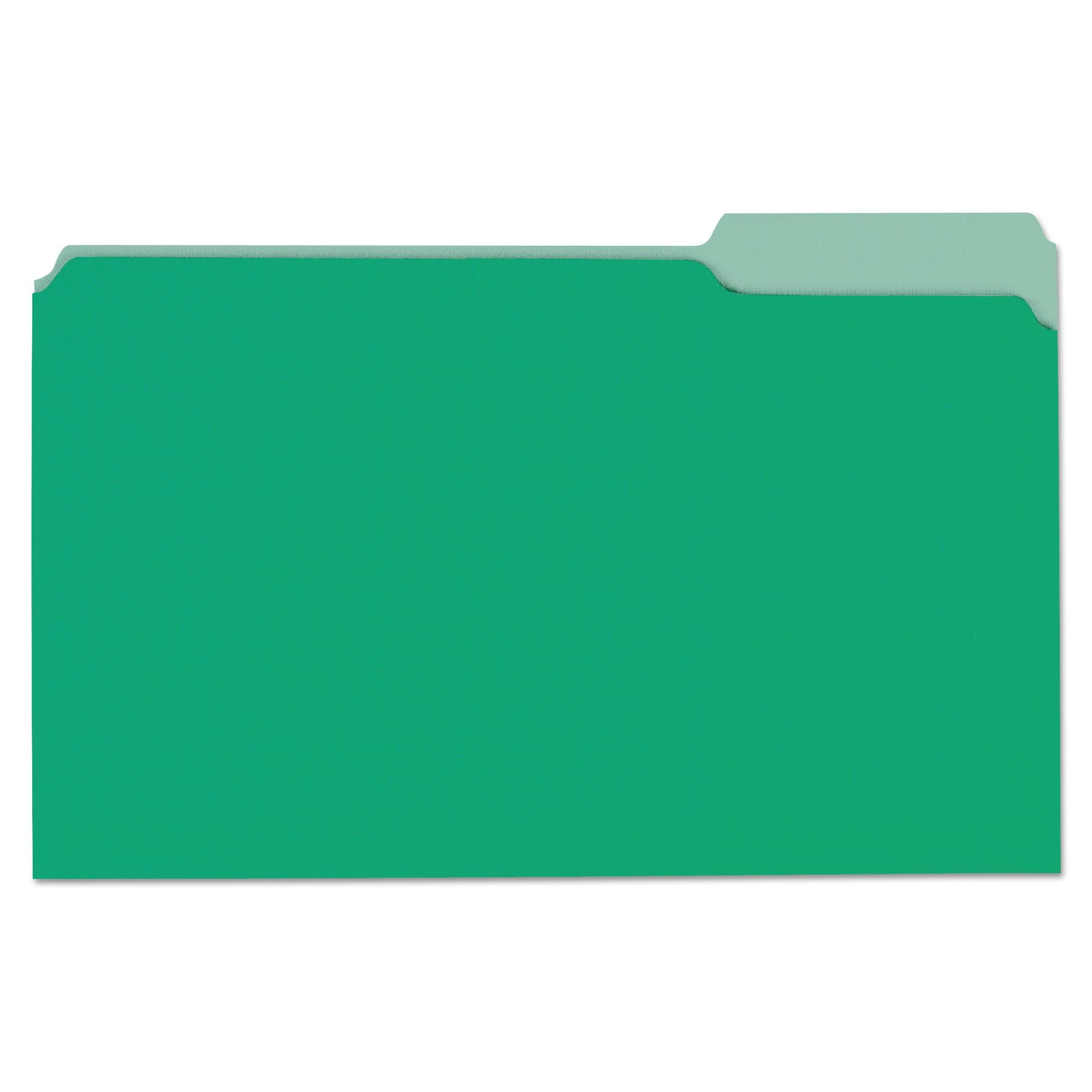 File Folders, 1/3 Cut One-Ply Tab, Legal, Bright Green/Light Green, 100/Box
