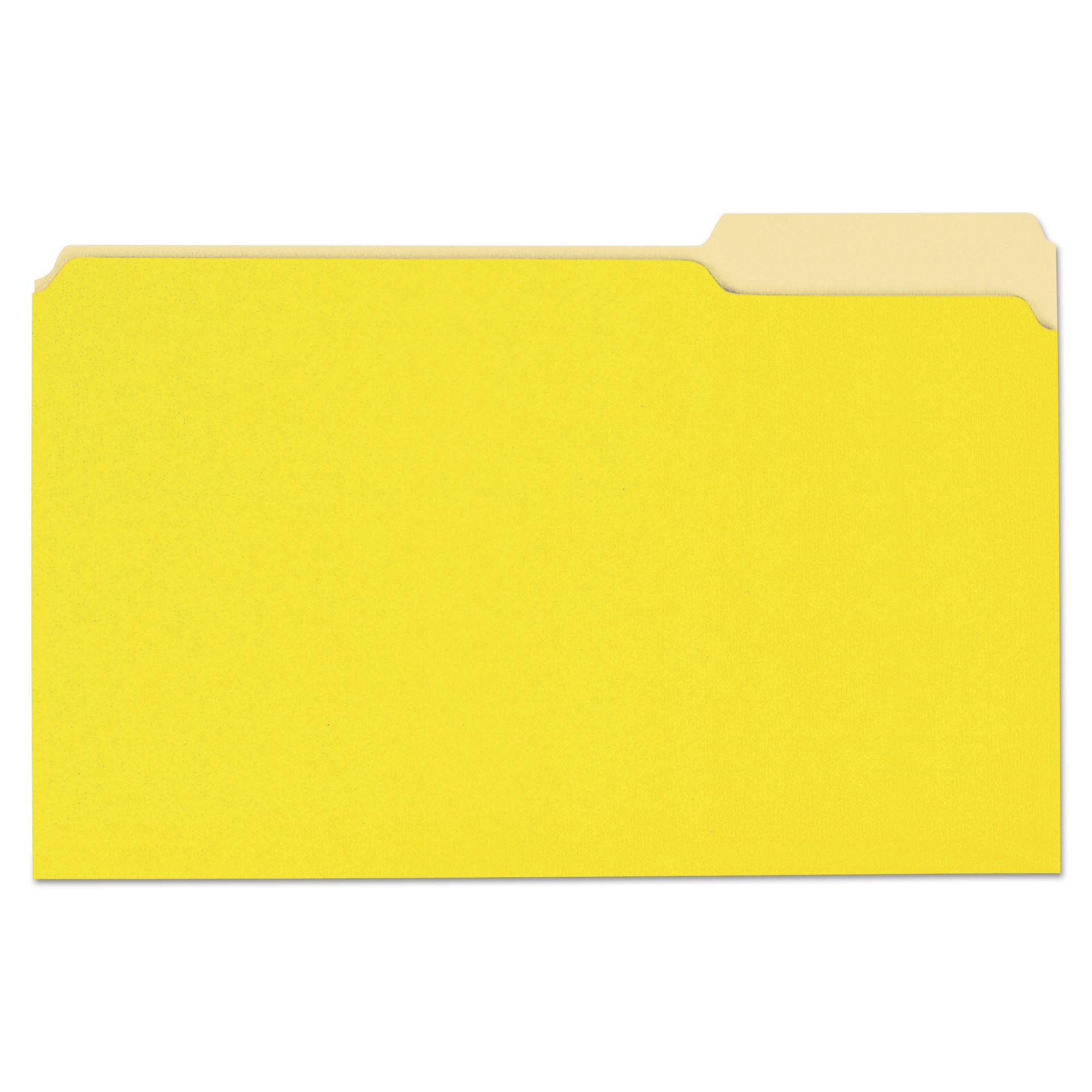 File Folders, 1/3 Cut One-Ply Top Tab, Legal, Yellow/Light Yellow, 100/Box