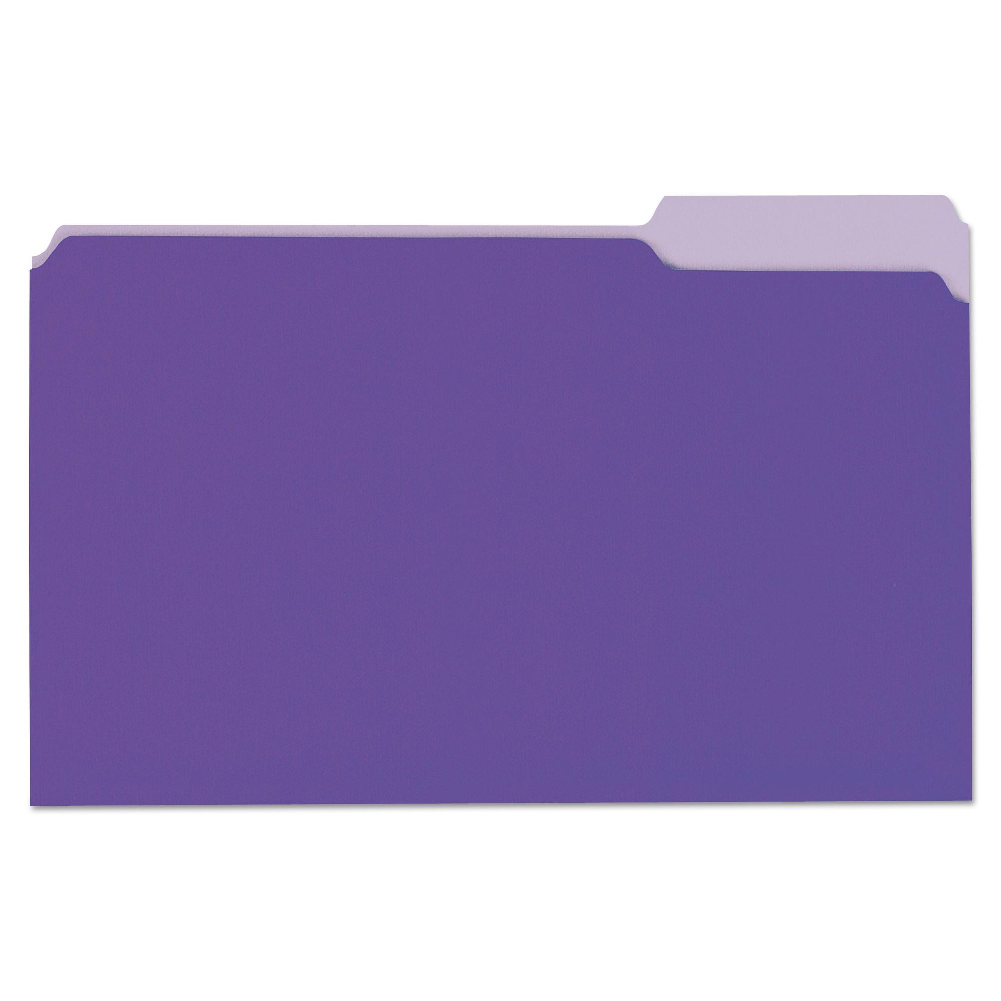 File Folders, 1/3 Cut One-Ply Top Tab, Legal, Violet/Light Violet, 100/Box