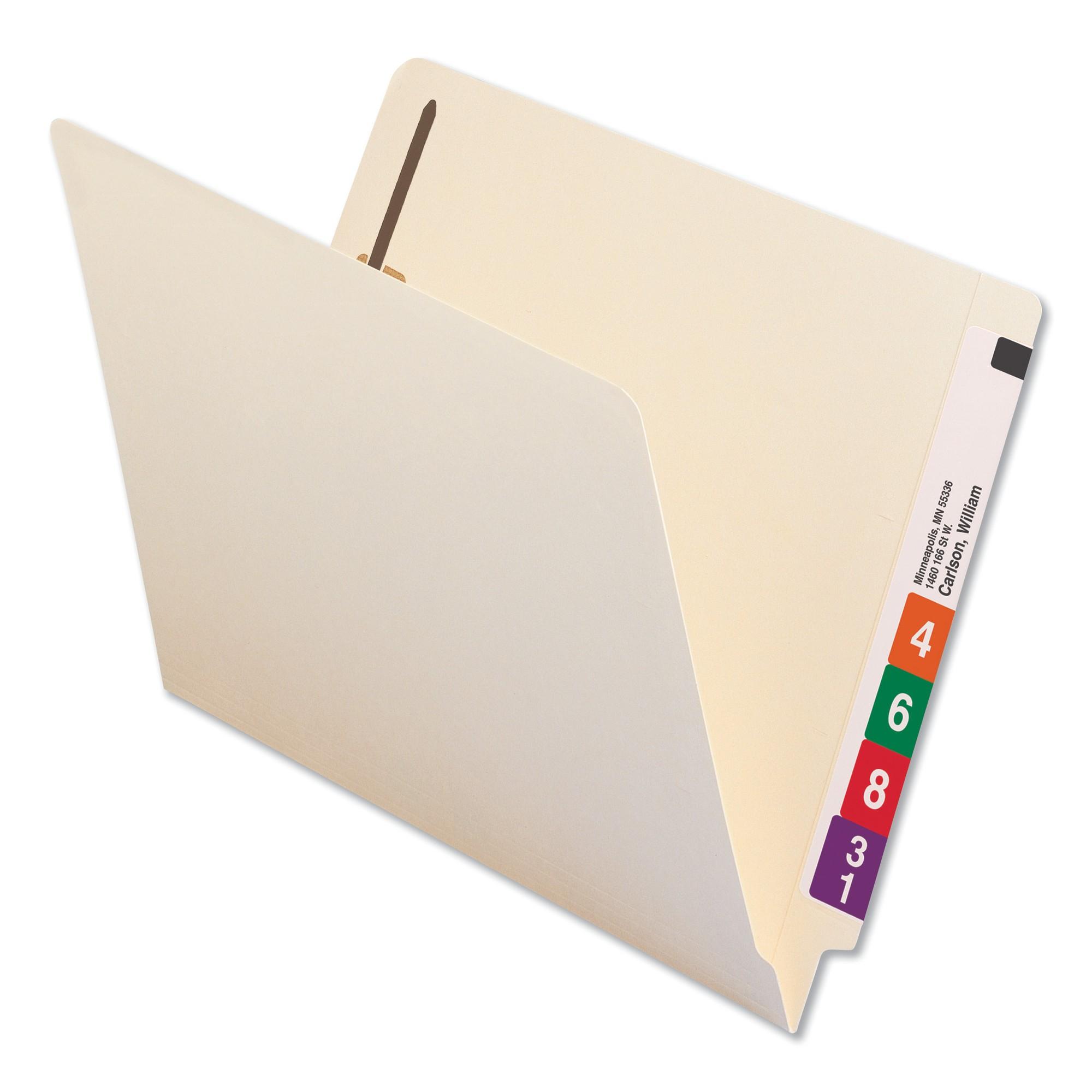 End Tab Folders, Two Fasteners, Letter, Manila, 50/Box