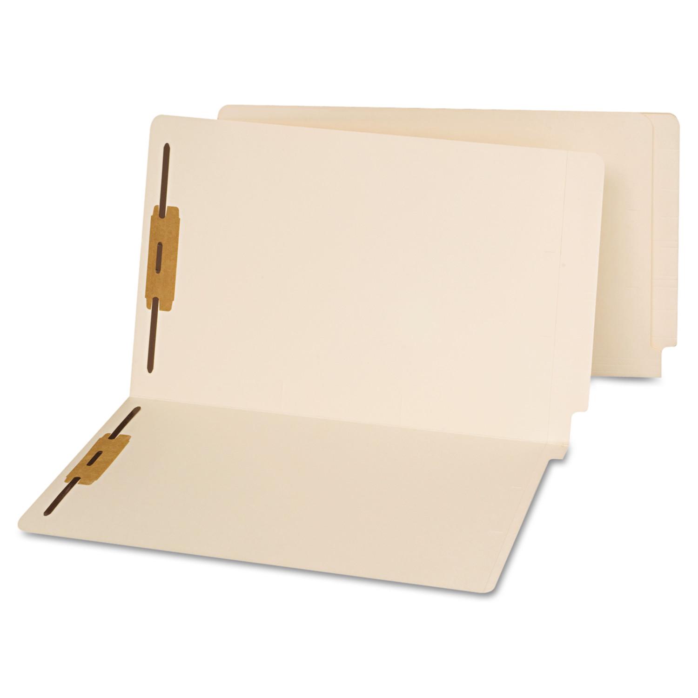 End Tab Folders, Two Fasteners, Legal, Manila, 50/Box