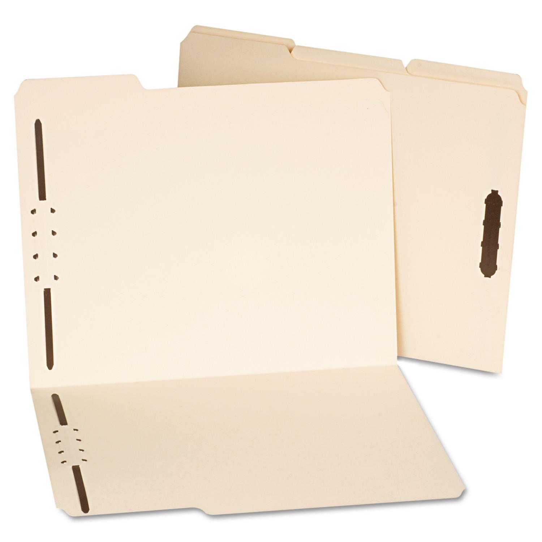 Deluxe Reinforced Top Tab Folders, 2 Fasteners, 1/3 Tab, Letter, Manila, 50/Box