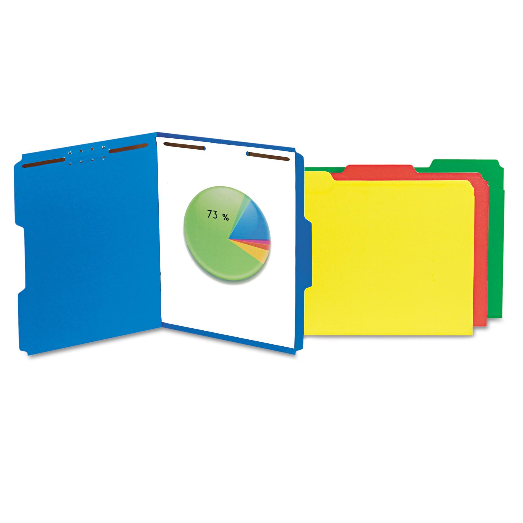 Deluxe Reinforced Top Tab Folders, 2 Fasteners, 1/3 Tab, Letter, Blue, 50/Box