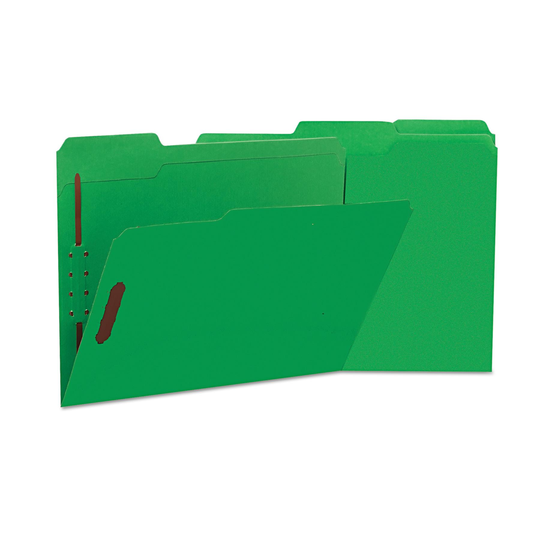 Deluxe Reinforced Top Tab Folders, 2 Fasteners, 1/3 Tab, Letter, Green, 50/Box