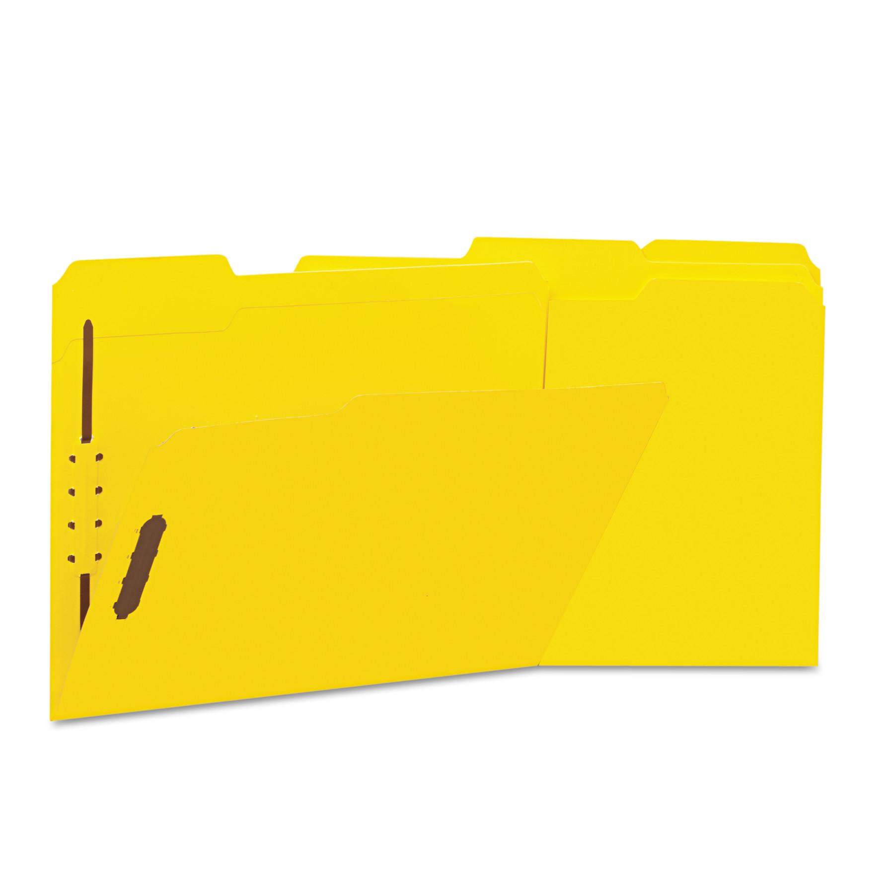 Deluxe Reinforced Top Tab Folders, 2 Fasteners, 1/3 Tab, Letter, Yellow, 50/Box