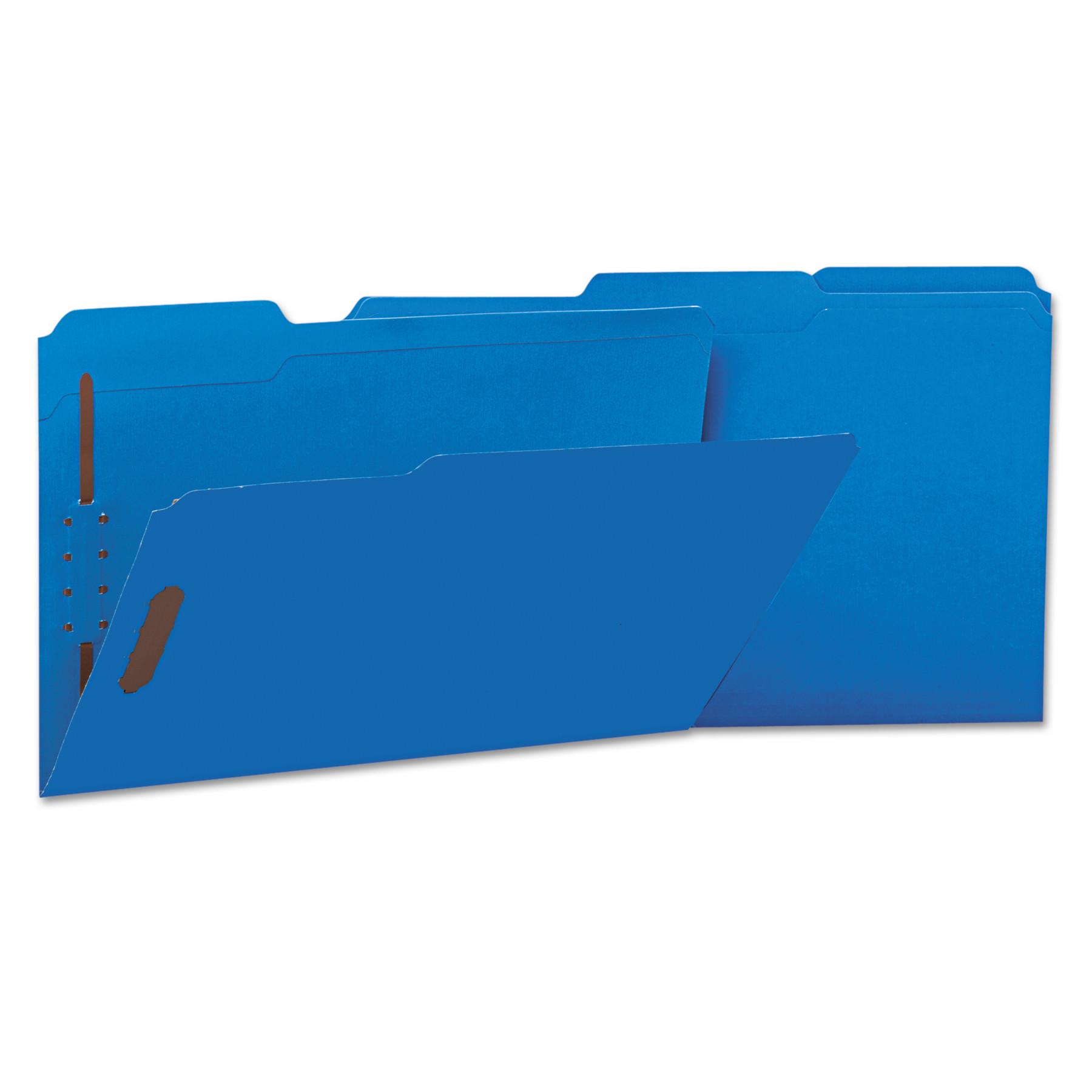 Deluxe Reinforced Top Tab Folders, 2 Fasteners, 1/3 Tab, Legal, Blue, 50/Box