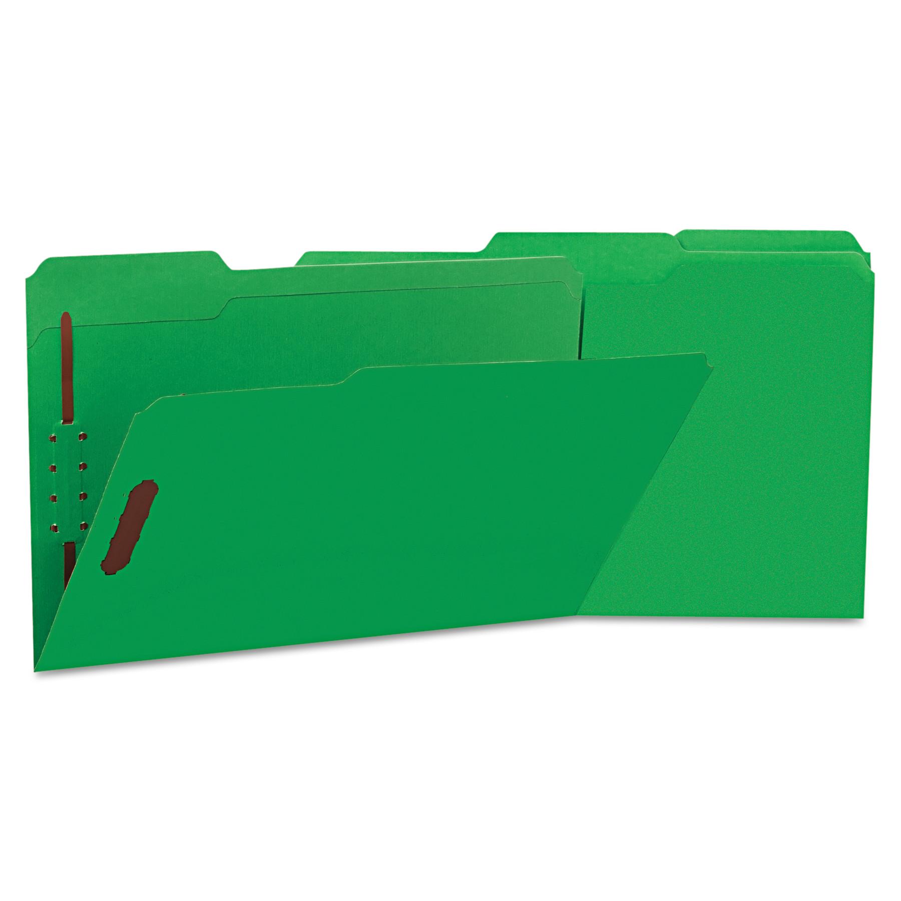Deluxe Reinforced Top Tab Folders, 2 Fasteners, 1/3 Tab, Legal, Green, 50/Box