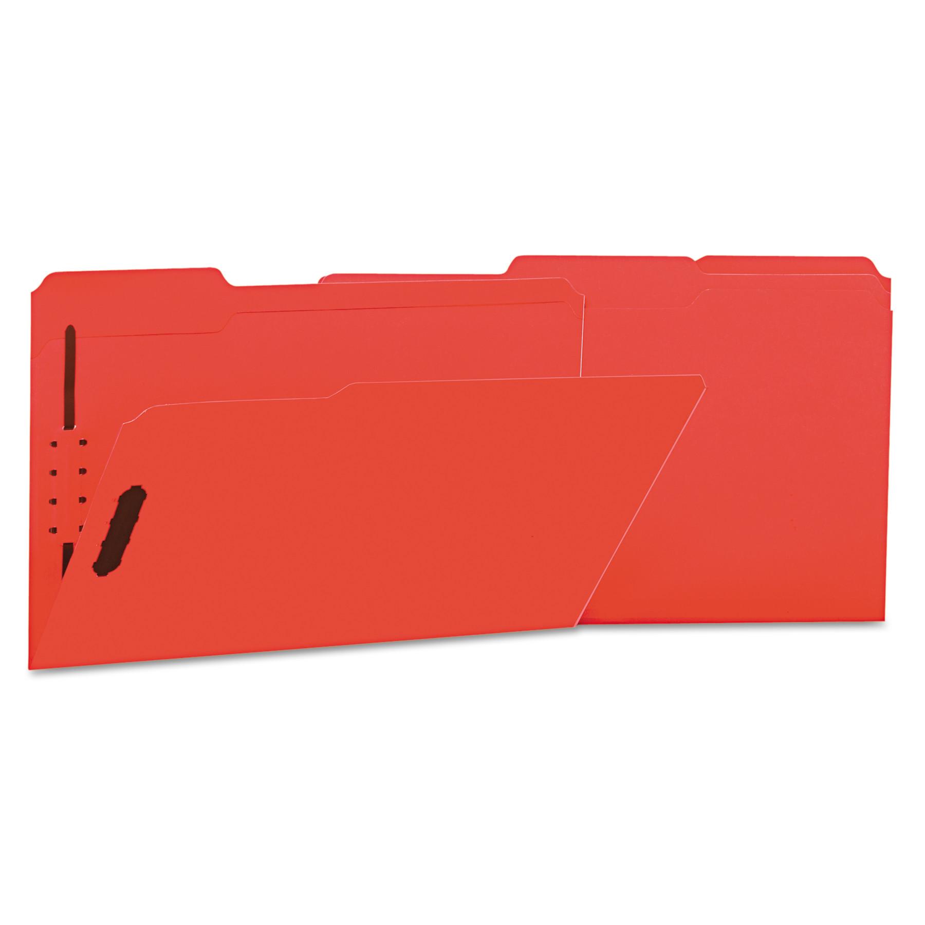 Deluxe Reinforced Top Tab Folders, 2 Fasteners, 1/3 Tab, Legal, Red, 50/Box