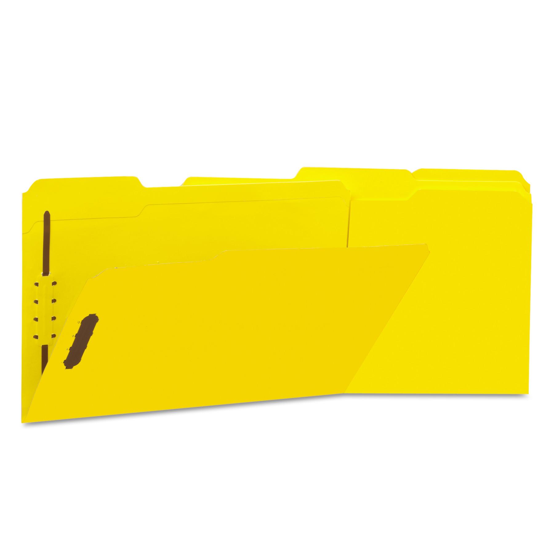 Deluxe Reinforced Top Tab Folders, 2 Fasteners, 1/3 Tab, Legal, Yellow, 50/Box
