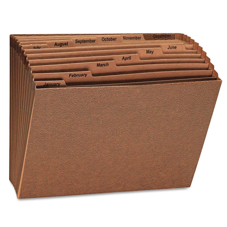 Expanding File, Open Top, 12 x 10, Jan.-Dec., Letter, Redrope