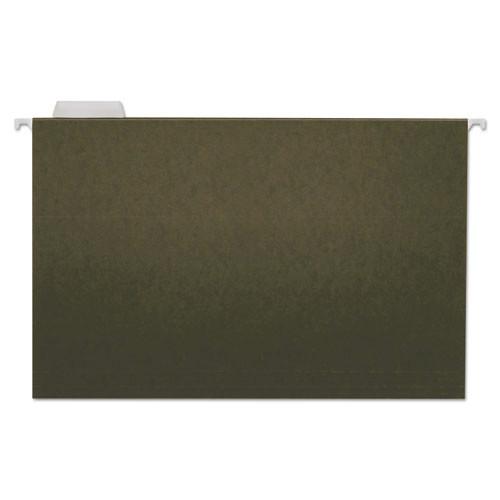 Hanging File Folders, 1/5 Tab, 11 Point Stock, Legal, Standard Green, 25/Box