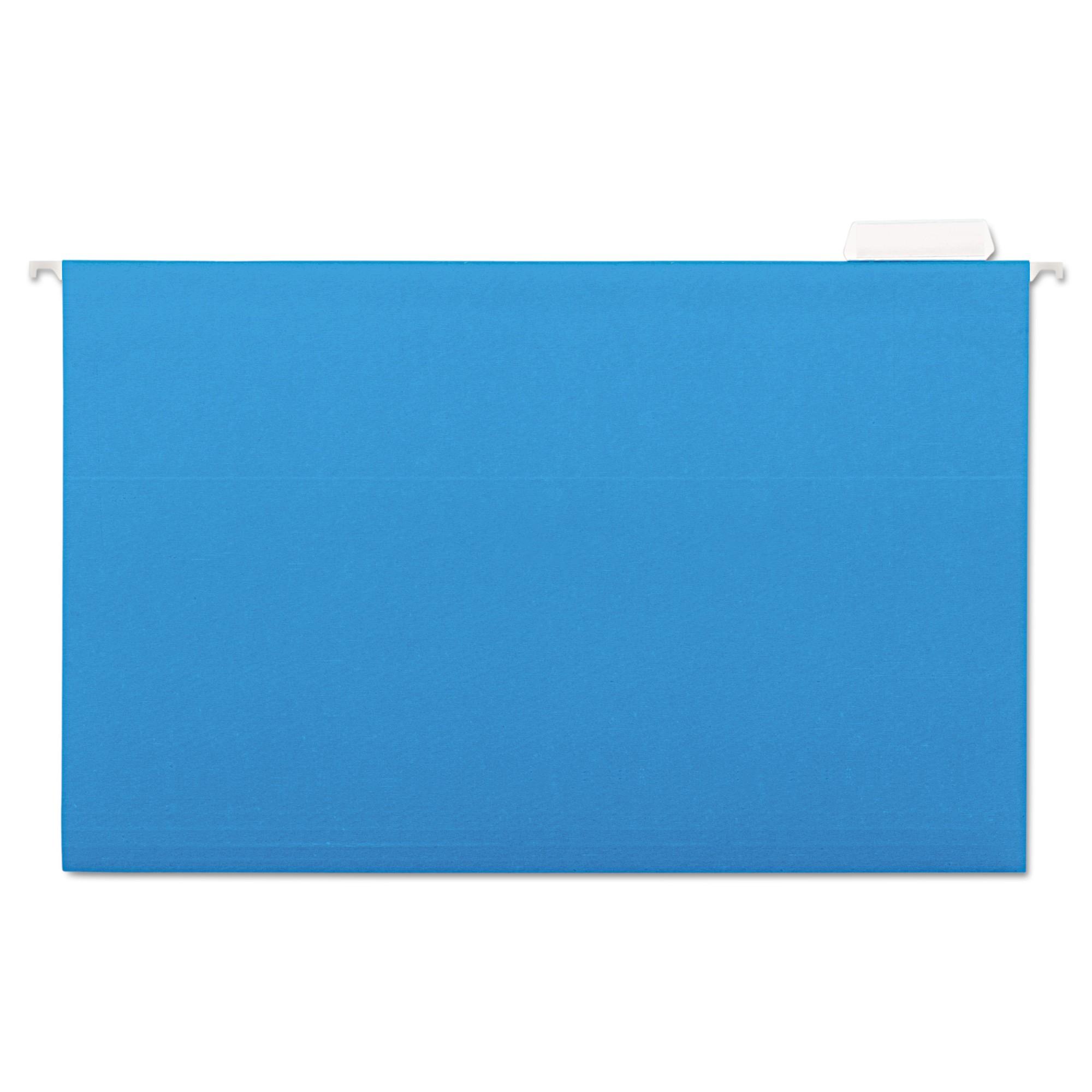 Hanging File Folders, 1/5 Tab, 11 Point Stock, Legal, Blue, 25/Box