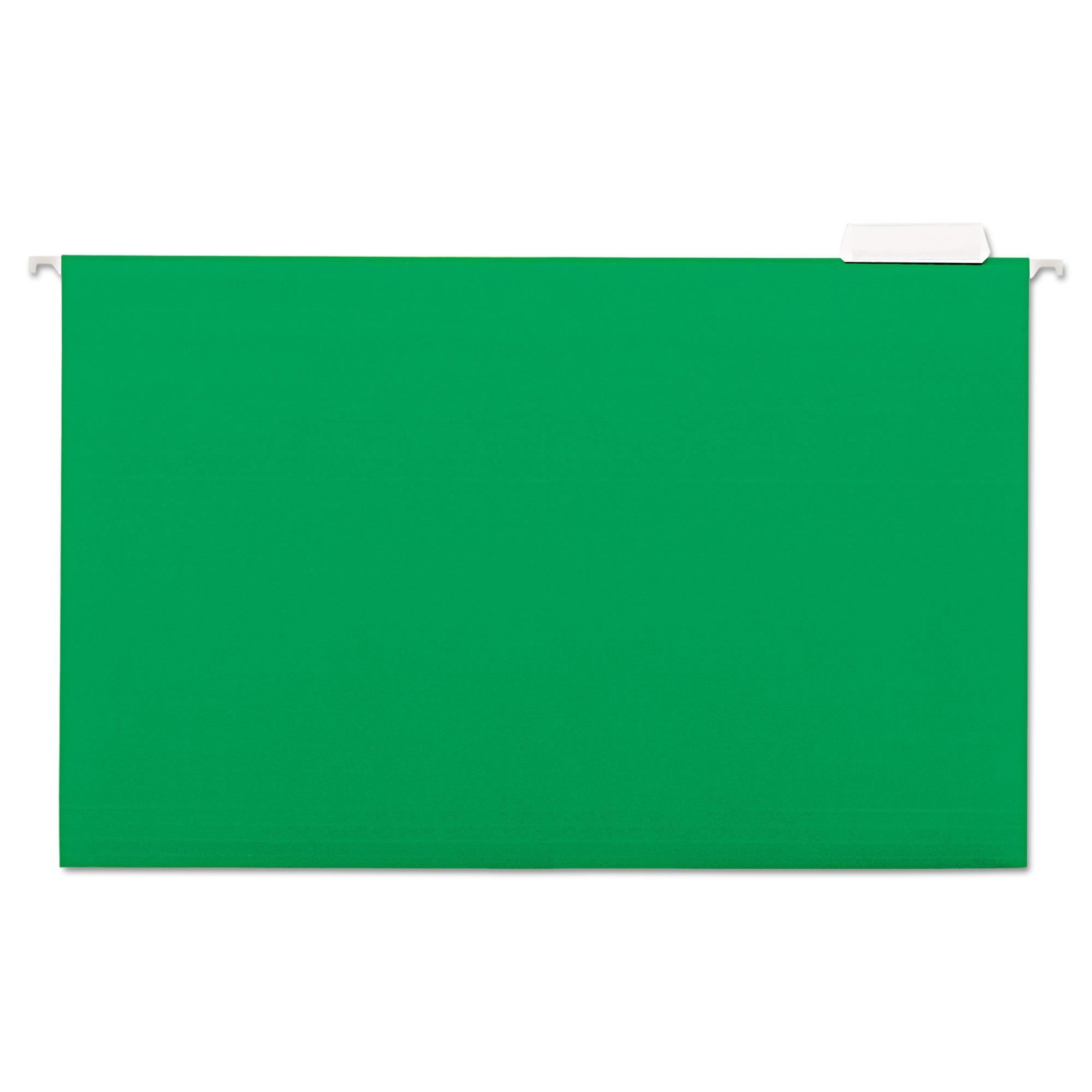 Hanging File Folders, 1/5 Tab, 11 Point Stock, Legal, Green, 25/Box