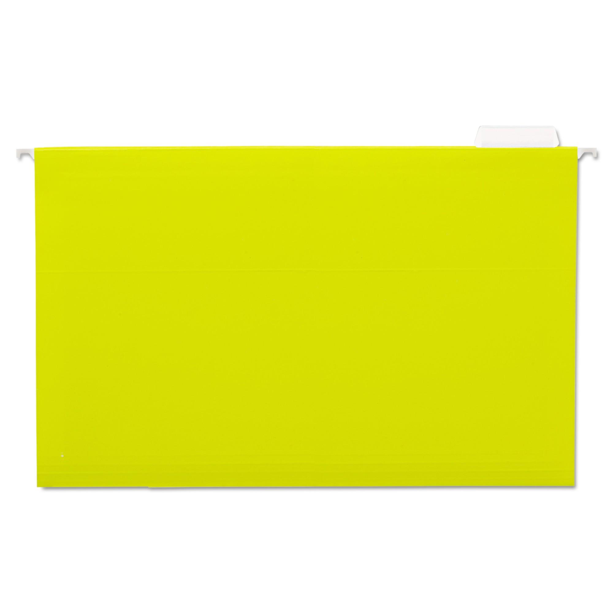 Hanging File Folders, 1/5 Tab, 11 Point Stock, Legal, Yellow, 25/Box