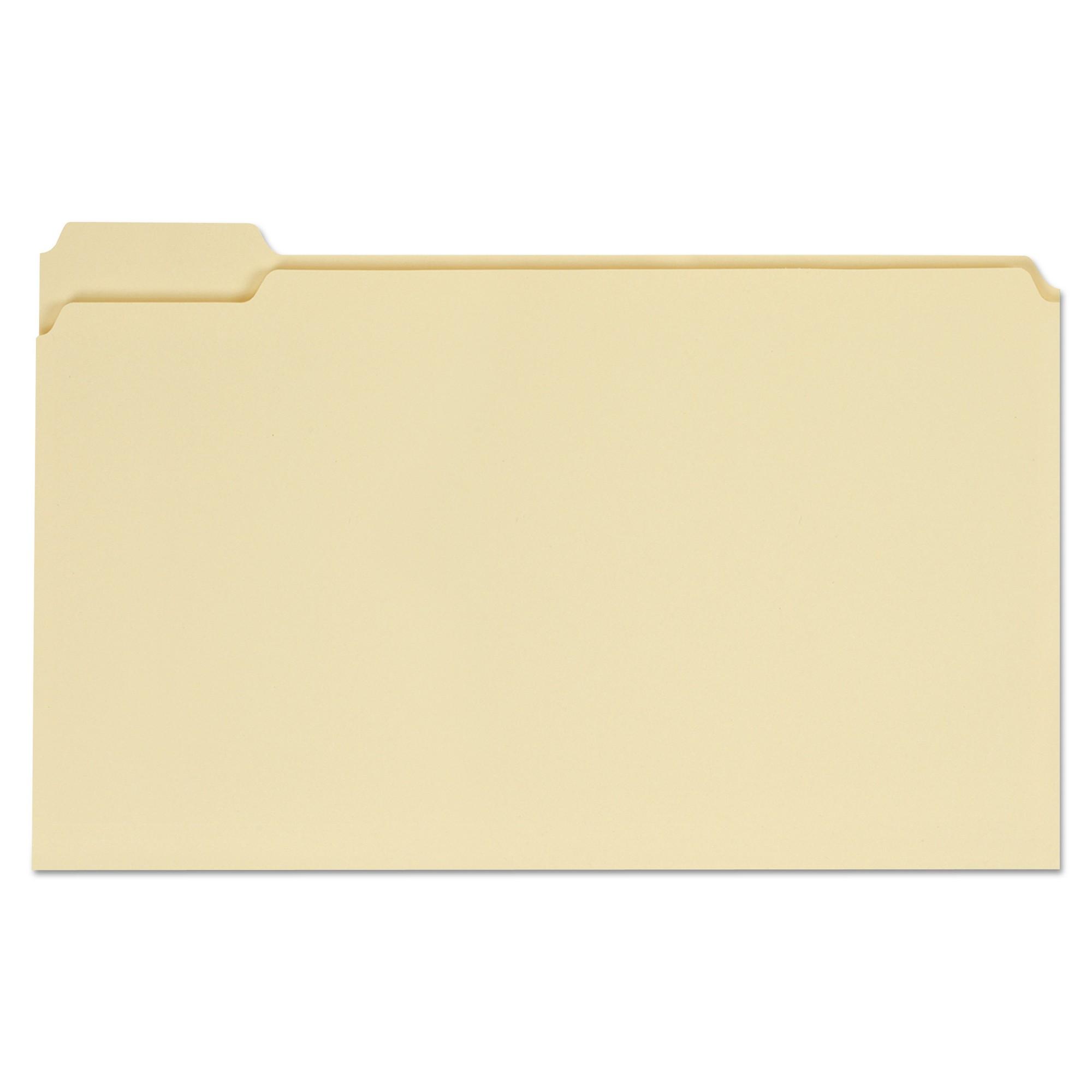 File Folders, 1/5 Cut Assorted, One-Ply Top Tab, Legal, Manila, 100/Box