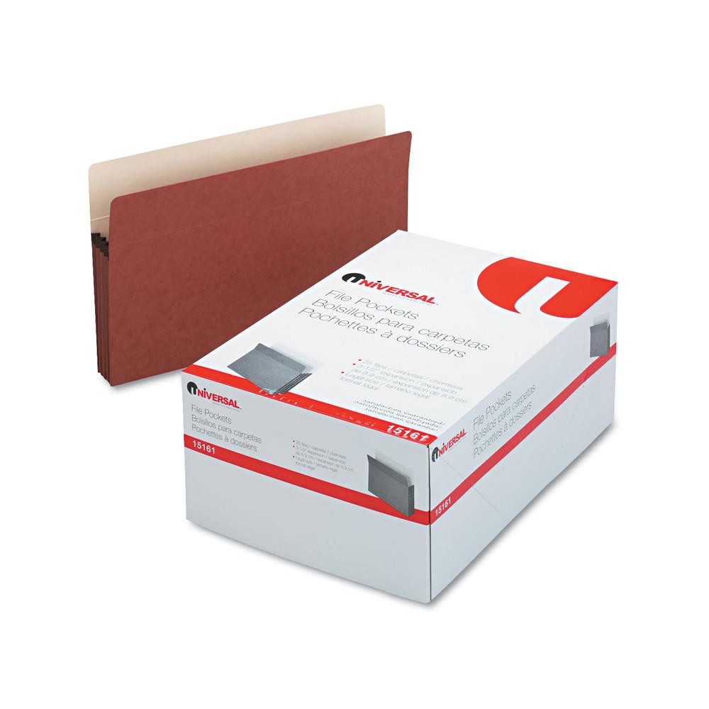 3 1/2 Inch Expansion File Pockets, Straight Tab, Legal, Redrope/Manila, 25/Box
