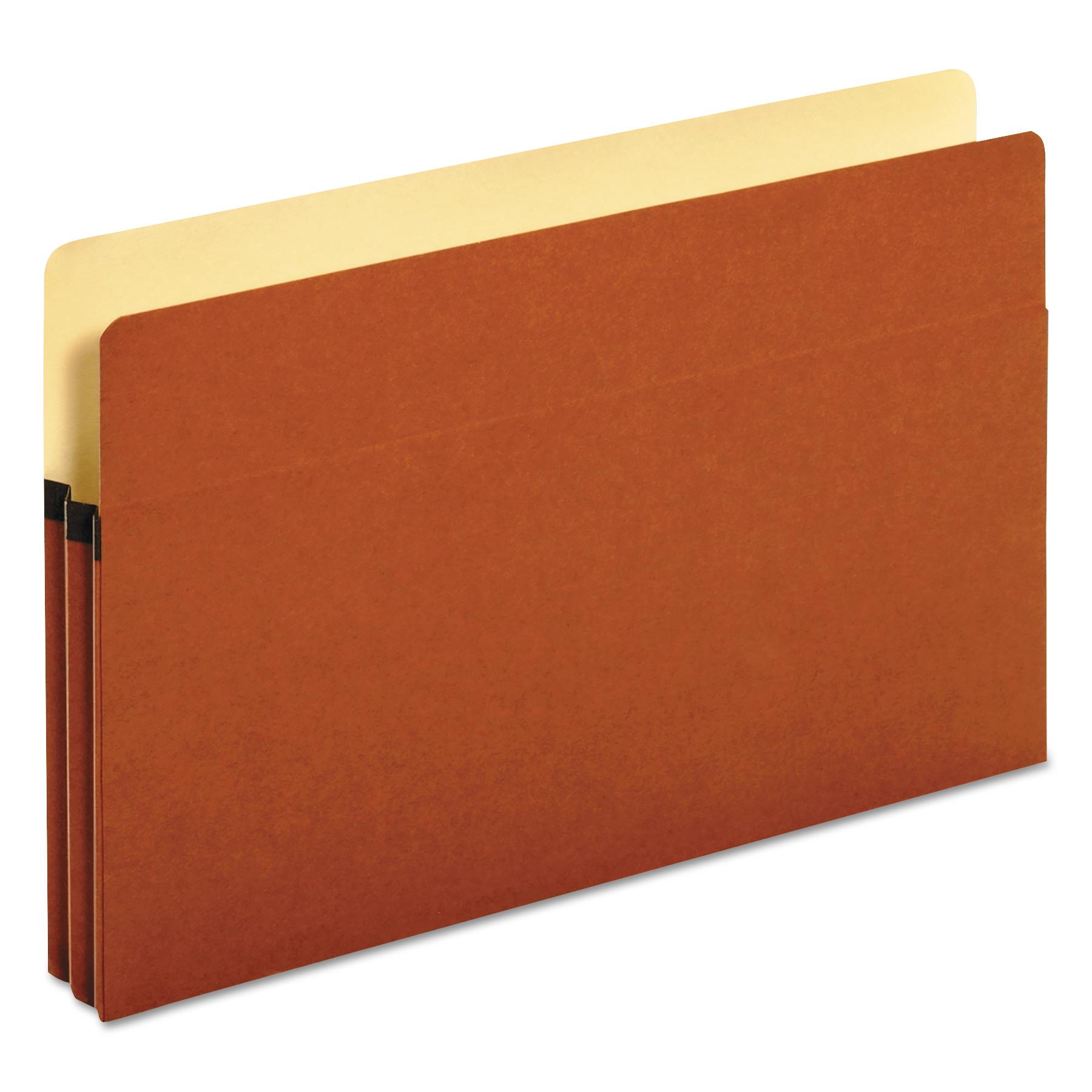 1 3/4 Inch Expansion File Pockets, Straight Tab, Legal, Redrope/Manila, 25/Box