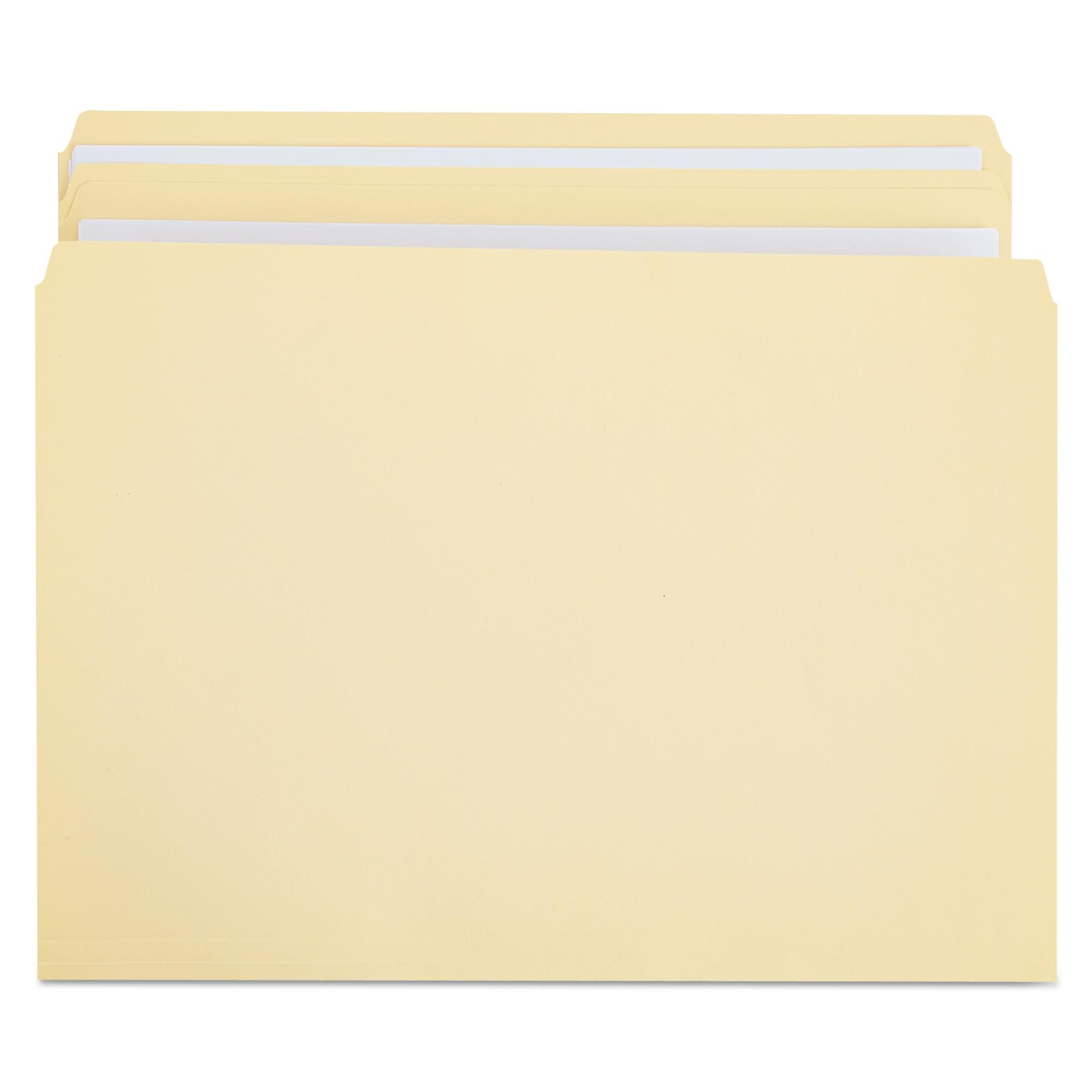 File Folders, Straight Cut, Two-Ply Top Tab, Legal, Manila, 100/Box