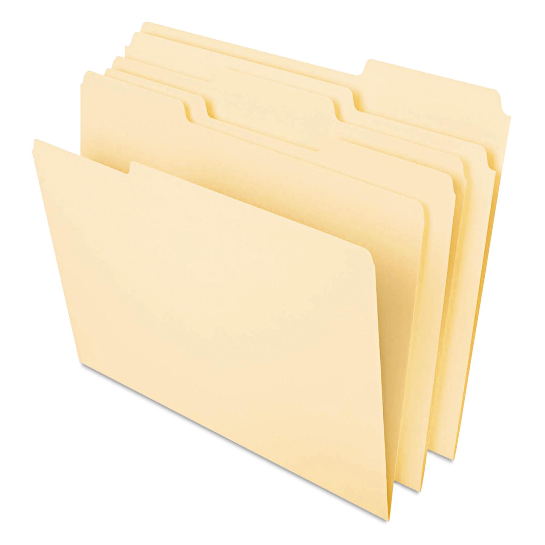 Heavyweight File Folders, 1/3 Cut One-Ply Top Tab, Legal, Manila, 50/Pack