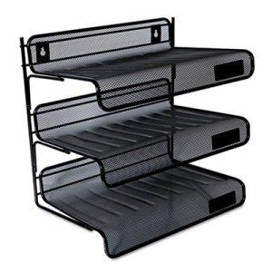 Mesh Three-Tier Desk Shelf, Letter, Black