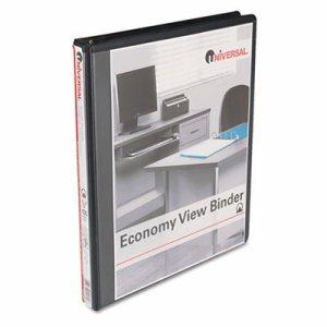 """Economy Round Ring View Binder, 1/2"""" Capacity, Black"""