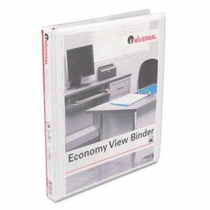 """Economy Round Ring View Binder, 1/2"""" Capacity, White"""