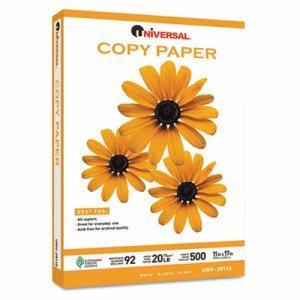 Copy Paper, 92 Brightness, 20lb, 11 x 17, White, 2500 Sheets/Carton
