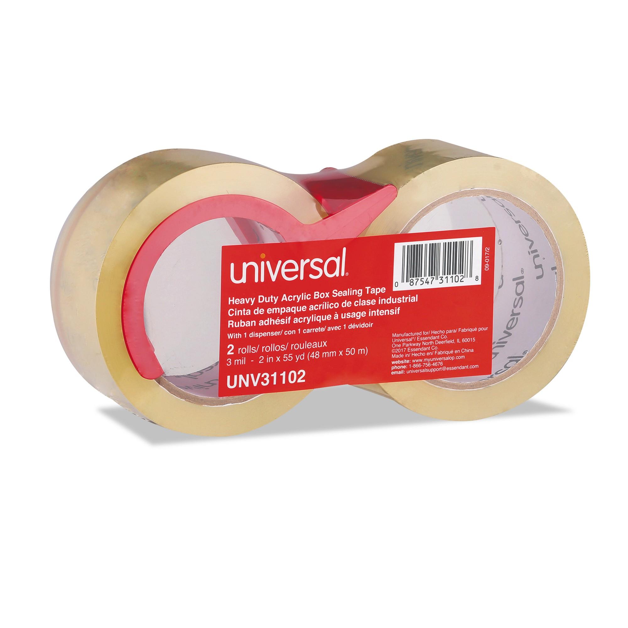 "Heavy-Duty Acrylic Box Sealing Tape w/Disp, 48mm x 50m, 3"" Core, Clear, 2/Pack"