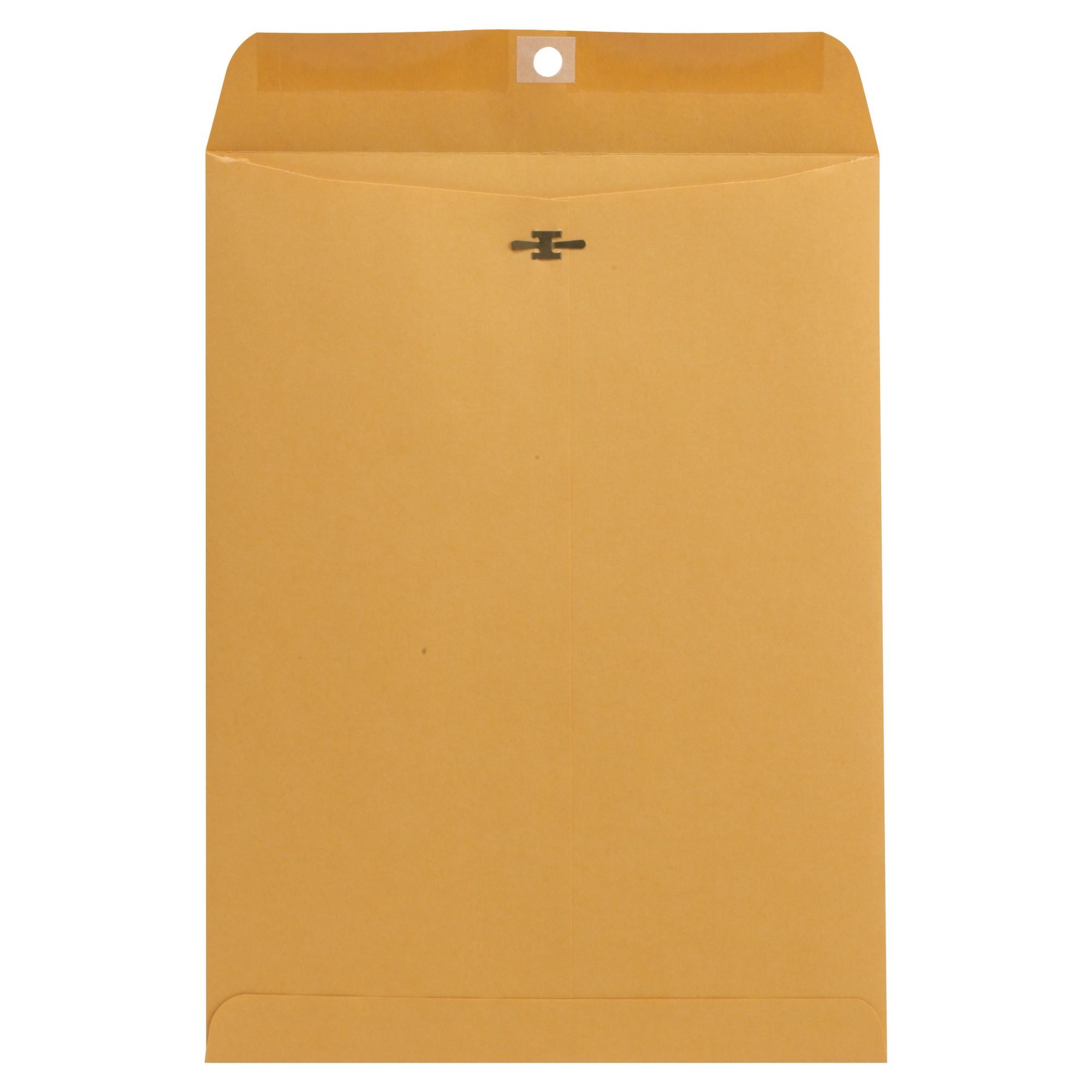 Kraft Clasp Envelope, Center Seam, 32lb, 9 x 12, Brown Kraft, 100/Box