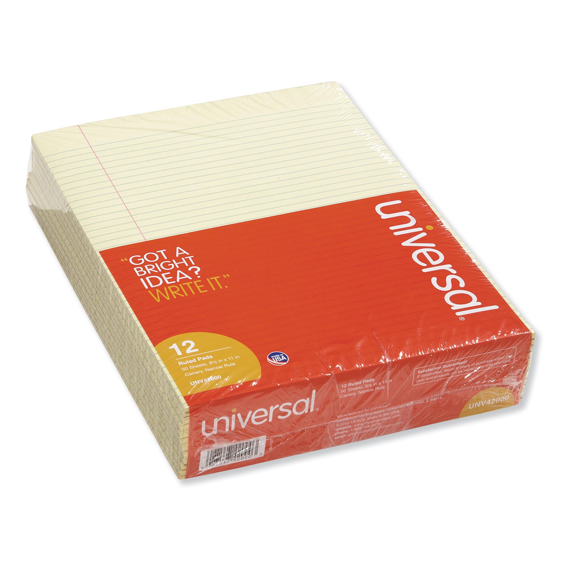 Glue Top Writing Pads, Narrow Rule, Ltr, Canary, 50 Sheet Pads/Pack, Dozen