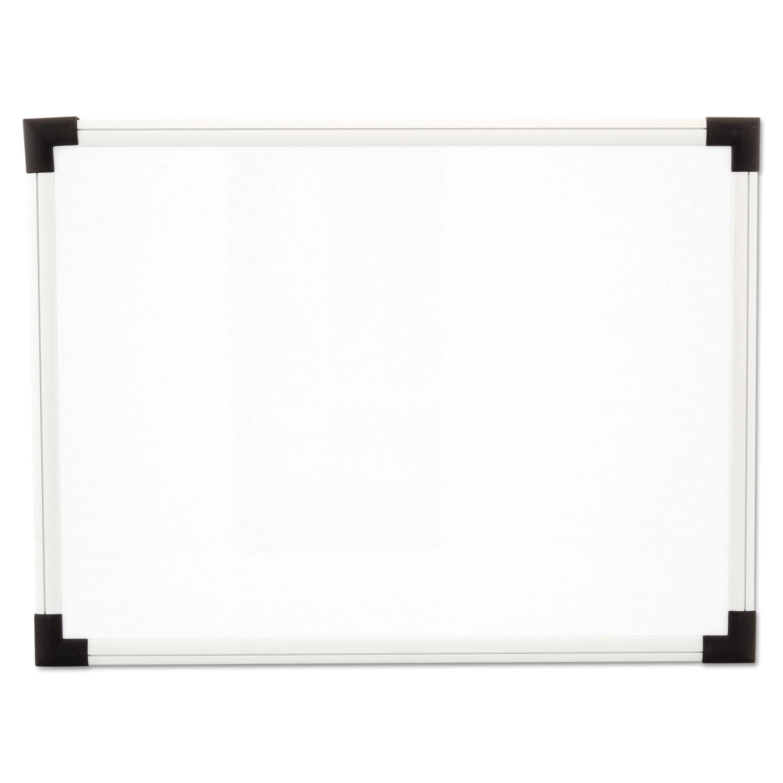 Dry Erase Board, Melamine, 24 x 18, White, Black/Gray, Aluminum/Plastic Frame