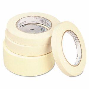 "General Purpose Masking Tape, 24mm x 54.8m, 3"" Core, 3/Pack, 12 Packs/Carton"