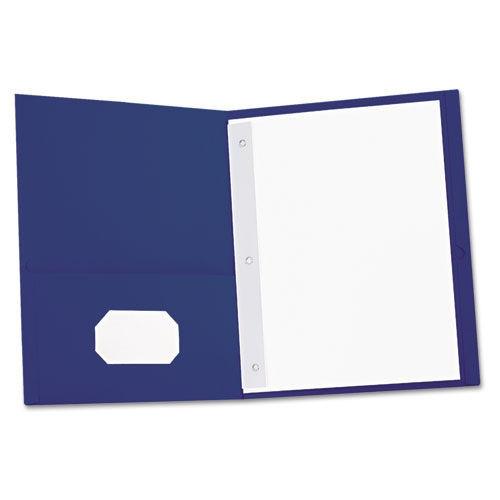 Two-Pocket Portfolios w/Tang Fasteners, 11 x 8-1/2, Dark Blue, 25/Box