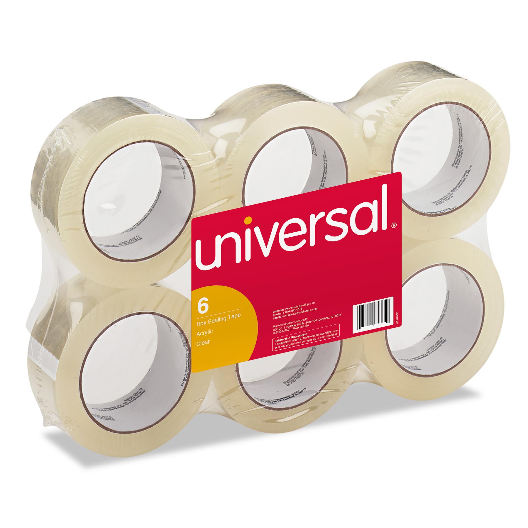 "General-Purpose Box Sealing Tape, 48mm x 100m, 3"" Core, Clear, 6/Pack"