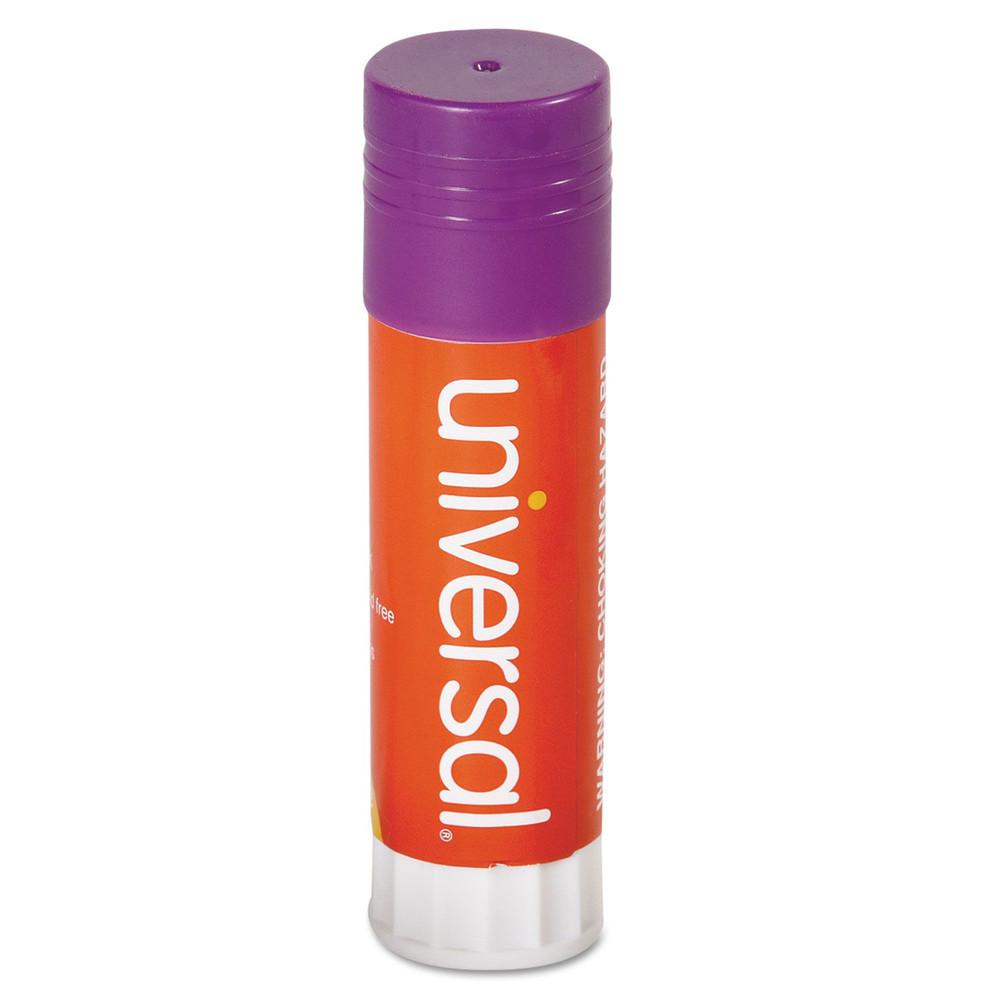 Glue Stick, 1.30 oz, Stick, Purple, 12/Pack
