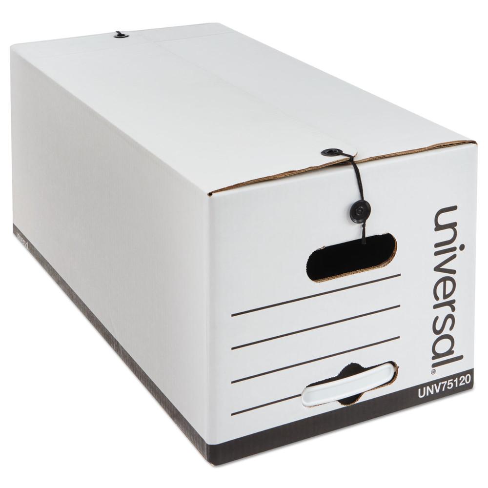 Economy Storage Box, Tie Close, Letter, Fiberboard, White, 12/Ct