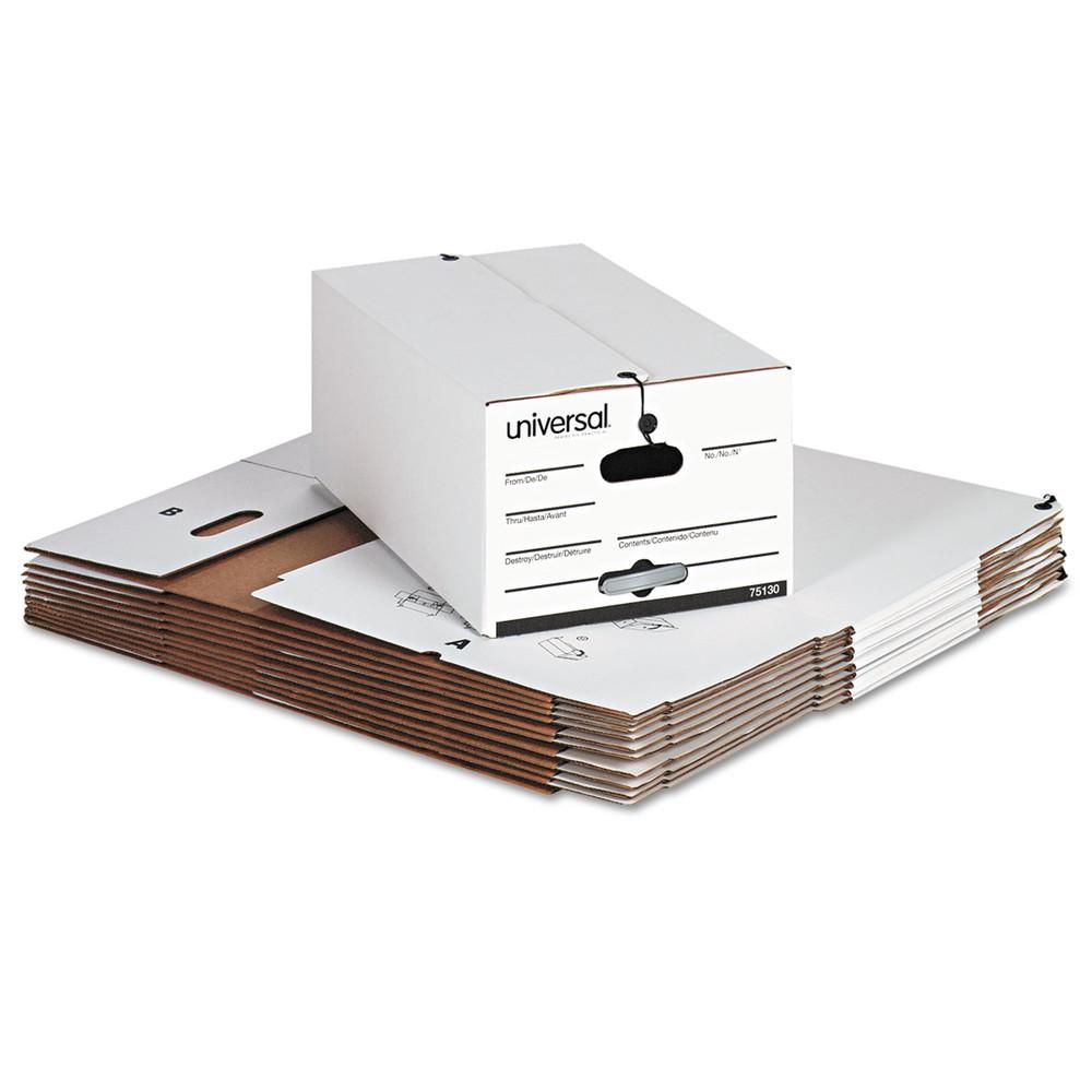 Economy Storage Box w/Tie Closure, Legal, Fiberboard, White, 12/Carton