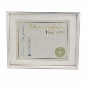 Plastic Document Frame w/Mat, 11 x 14 & 8 1/2 x 11 Inserts, Metallic Silver