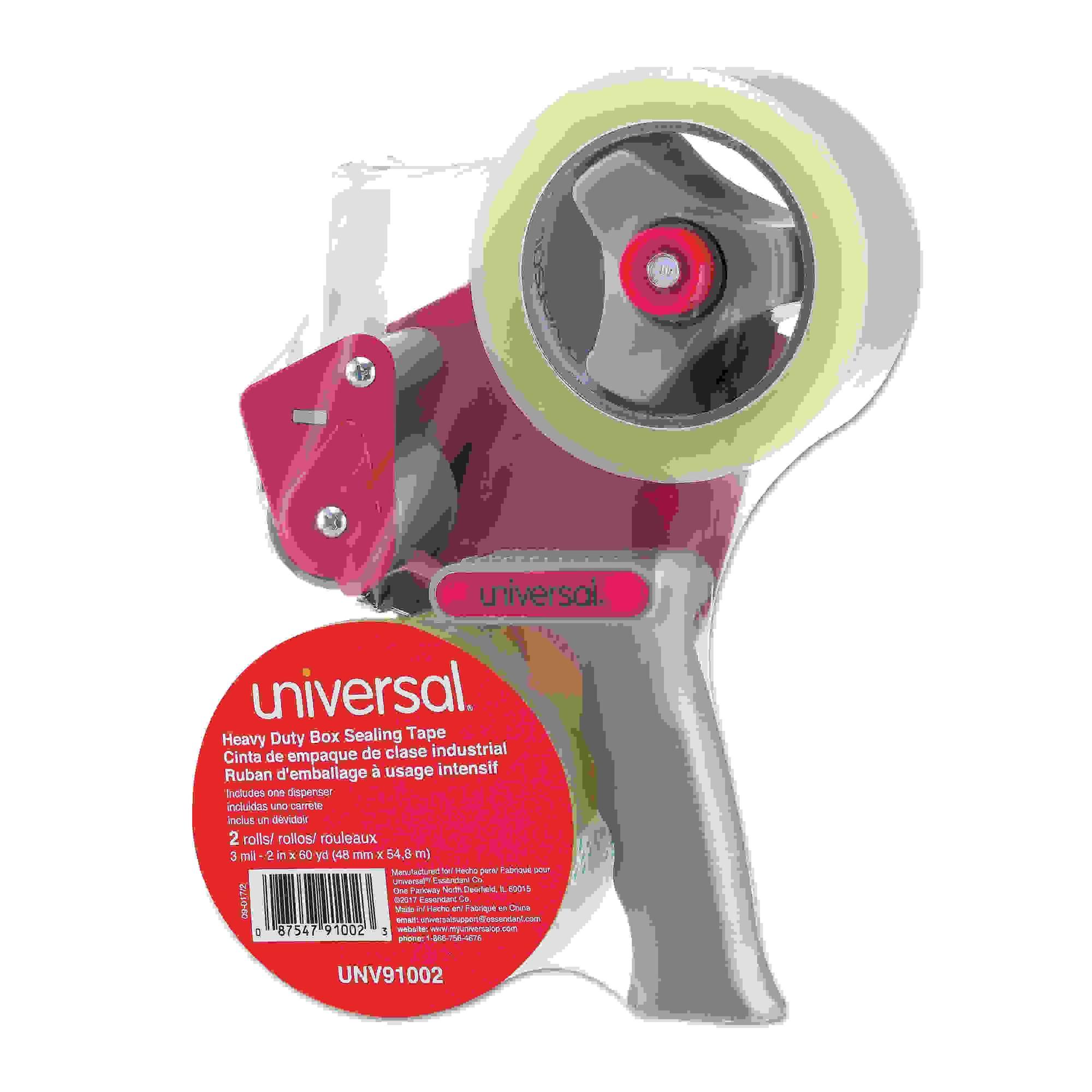 "Heavy-Duty Box Sealing Tape w/Dispenser, 48mm x 54.8m, 3"" Core, Clear, 2/Pack"